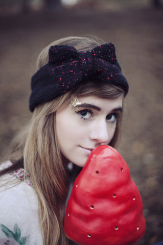 Knitted Bow Headband Oversized Bow Cute Cosy Kawaii Lolita Ear Warmer in Glitter Black and Red