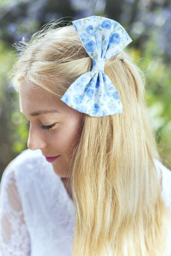 Blue and White Ditsy Rose Floral Hair Bow Clip- IN 2 SIZES