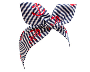 Blue and White Nautical Stripe Wire Headband, with Red Anchor Print Hair Wrap, Pin Up Rockabilly