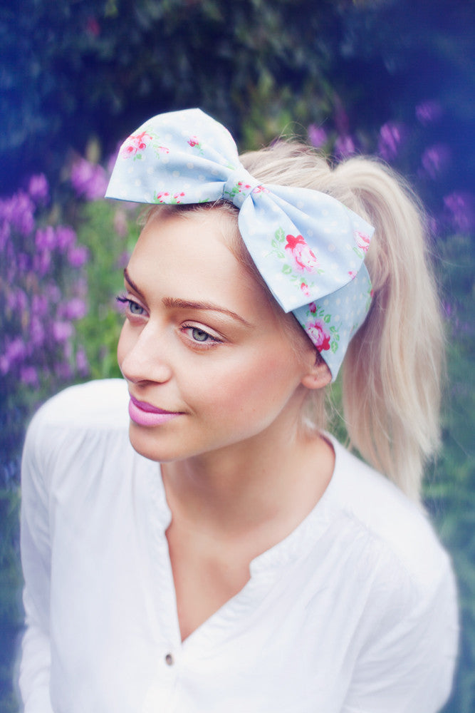 Blue Polka Dot Floral Bow Headband, Polka Dot Floral Headband, Dolly Bow