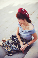 Bow Embroidered Beret, Bow French Beret- IN 4 COLOURS