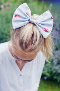 Blue Polka Dot Floral Hair Bow, Floral Hair Clip- IN 3 SIZES