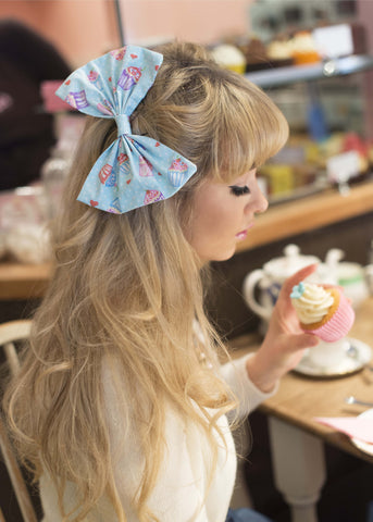Cupcake Oversized Hair Bow Clip - IN 4 COLOURS