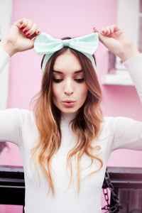 Broderie Anglaise Bow Headband, Broderie Anglaise Headband, Oversized Bow Headband