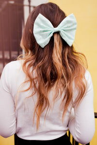 Pastel Green Broderie Anglaise Hair Bow- IN 3 SIZES