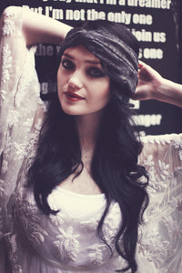Lace Turban Headband-IN BLACK OR CREAM  AS SEEN IN FABULOUS MAGAZINE