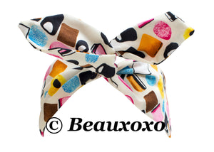 Liquorice Allsorts Candy Print Wire Headband, Rockabilly Pin up Girl Hair Wrap
