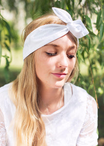 Broderie Anglaise Wire Headband, Rockabilly Pin Up Girl Hair Wrap, IN 6 COLOURS
