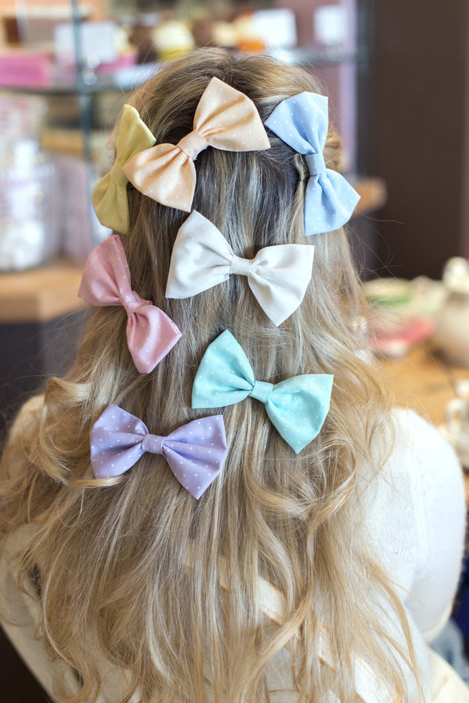 Mini Pastel Polka Dot Hair Bow- 7 COLOURS AVAILABLE