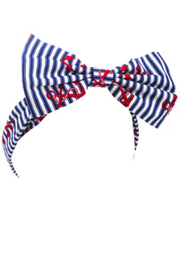 Nautical Stripe and Red Anchor Nautical Fabric Retro Pin Up Rockabilly Bow Headband