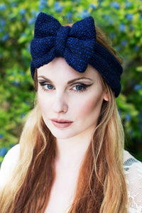 Navy Sparkle Knitted Bow Headband, Navy Knitted Headband, Cute Ear Warmer