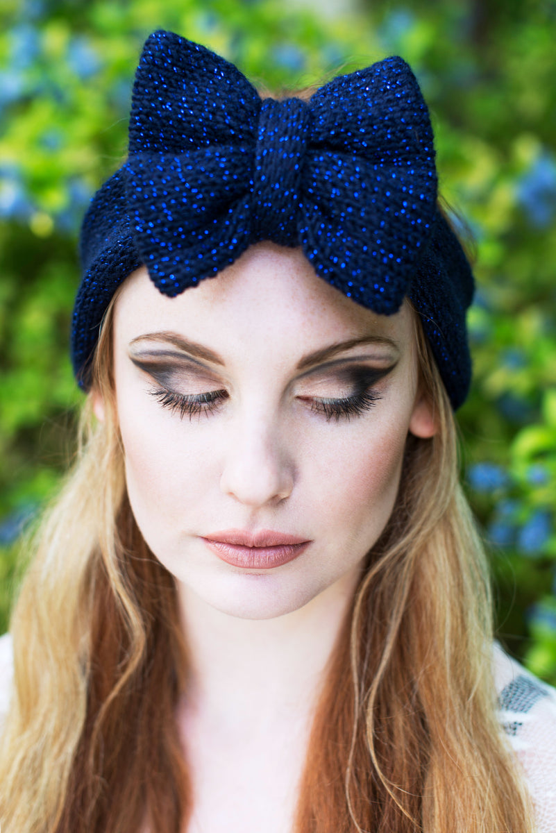 Navy Sparkle Knitted Bow Headband Navy Knitted Headband