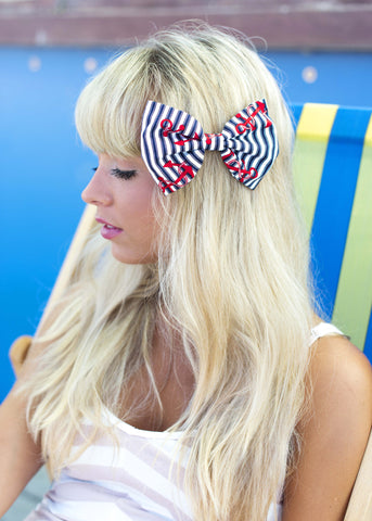 Navy and White stripe Nautical Hair Bow with Red Sailor Anchor Print Rockabilly Pin Up - IN 2 SIZES