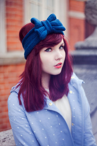 Peacock Blue Knitted Bow Headband, Knitted Headband, Cosy Winter Accessory