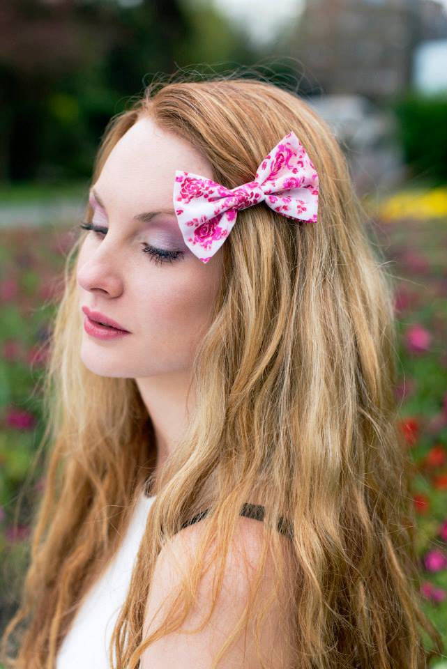 Pink Rose Hair Bow- IN 3 SIZES