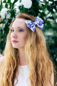 Purple Rose Hair Bow, Purple Floral Bow- IN 3 SIZES