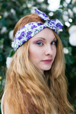 Rose Wire Headband, Dolly Bow, Pretty Floral Headband, Pin up Rockabilly Hair Wrap- IN 4 COLOURS