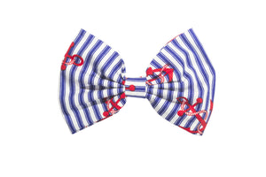 Blue and White stripe Nautical Sailor Hair Bow on clip with Red Anchor Pin Up Rockabilly- IN 2 SIZES