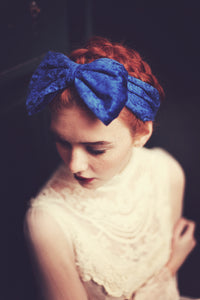 Royal Blue velvet bow headband