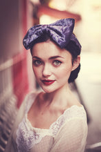Silver Blue velvet bow headband
