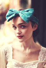 Teal velvet bow headband