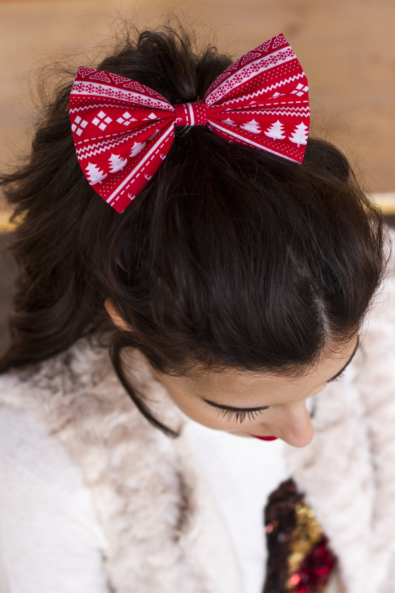 traditional christmas hair bow christmas bow in 2 sizes