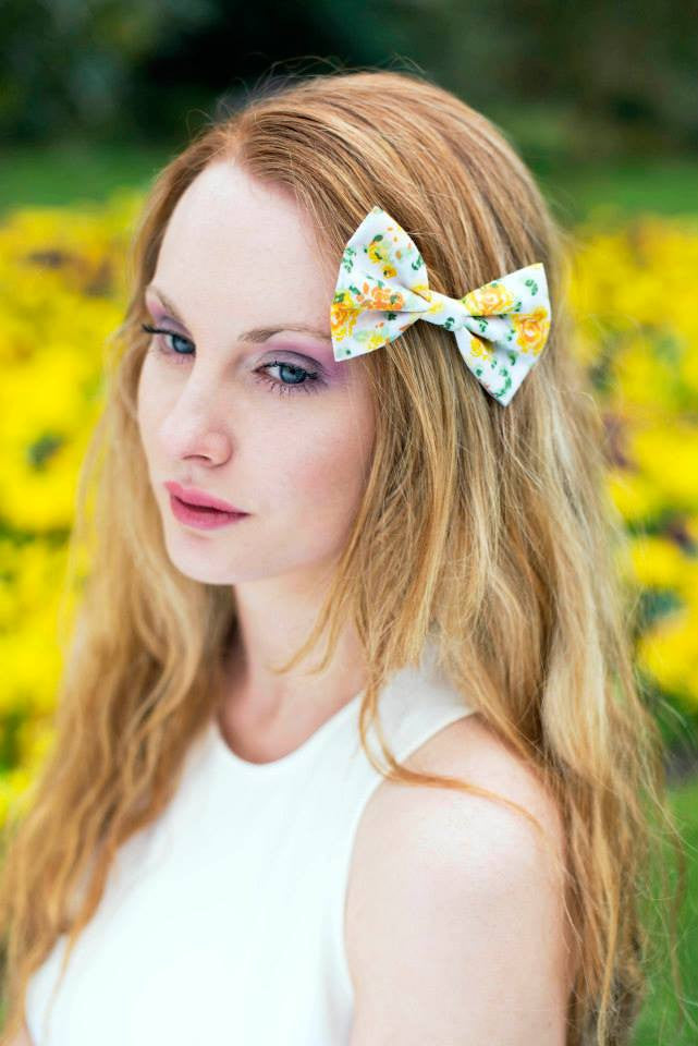 Yellow Rose Hair Bow, Yellow Floral Bow- IN 3 SIZES