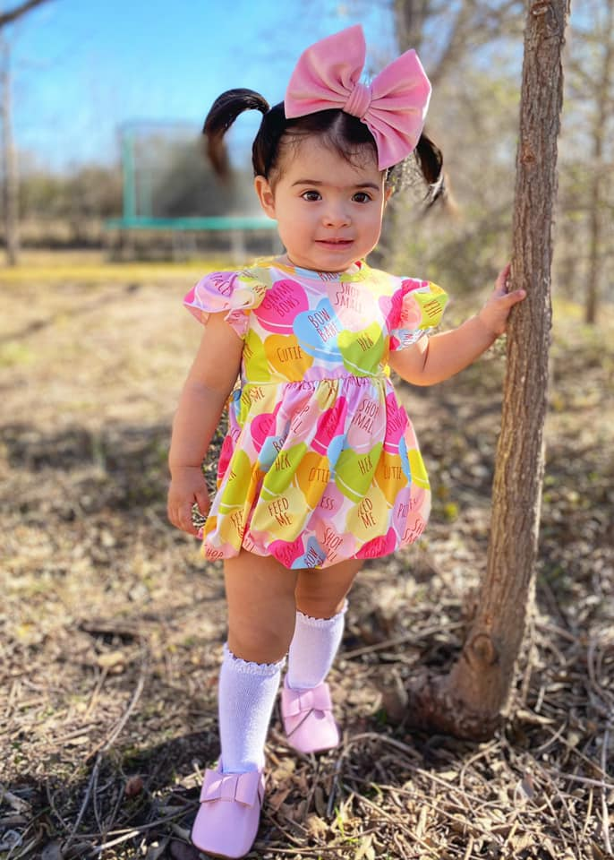Candy Hearts Bubble Romper