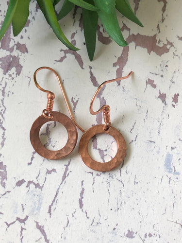 Small Copper Washer Earrings