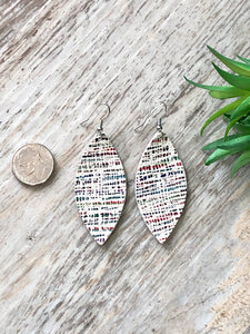 Abstract Rainbow Leather Earrings
