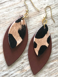 Double Layer Cheetah Leather Earrings