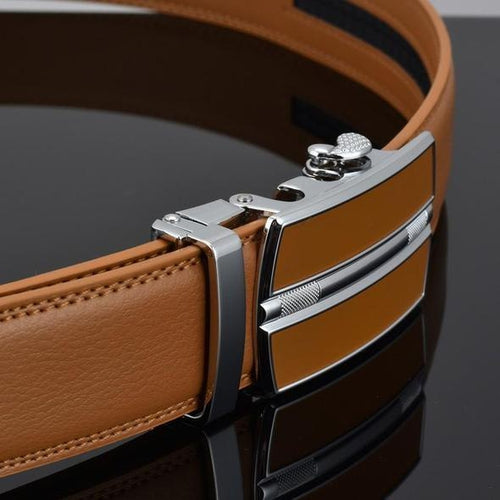 Chrome Design <br>Leather Belt