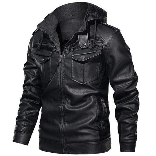 Griffin (Hooded) <br>Leather Jacket