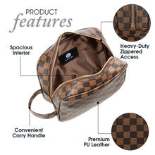 Load image into Gallery viewer, Luxury Checkered Travel Makeup Bag for Women, Cosmetics, Toiletries PU Leather - Luxouria