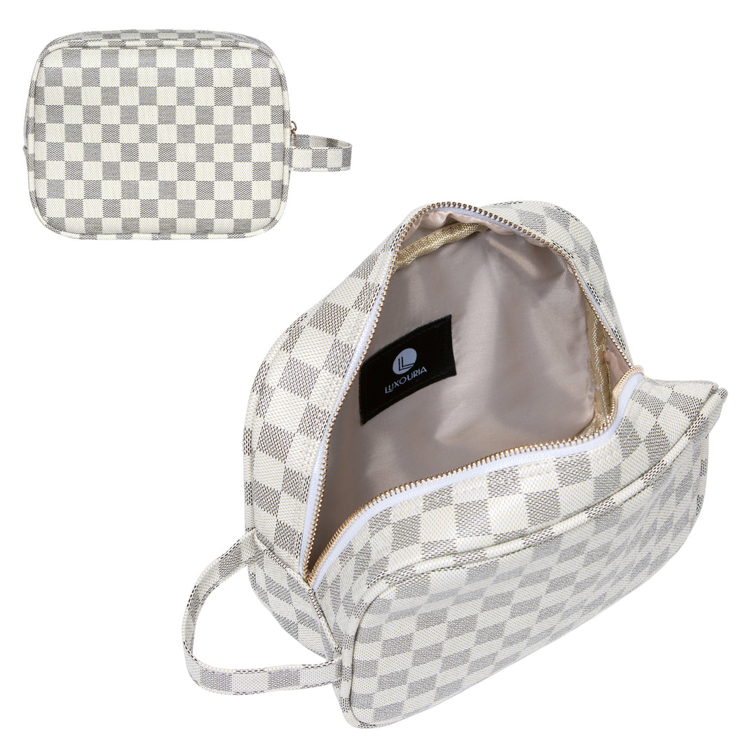 Luxury Checkered Travel Makeup Bag for Women, Cosmetics, Toiletries PU Leather - Luxouria