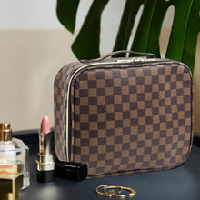 Load image into Gallery viewer, THE LUXOURIA Checkered Makeup Bag, ELEGANT TRAVEL LINE, Premium Designer PU Leather, Protective Hard Shell - Luxouria