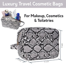Load image into Gallery viewer, Luxury Checkered and Snakeskin Travel Makeup Bag for Women, Cosmetics, Toiletries PU Leather - Luxouria