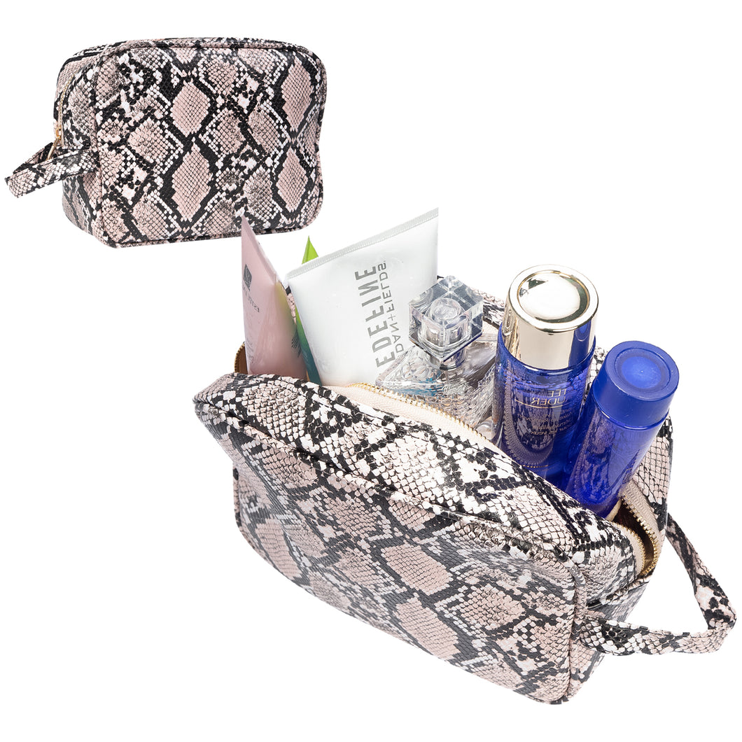 Luxury Checkered and Snakeskin Travel Makeup Bag for Women, Cosmetics, Toiletries PU Leather - Luxouria