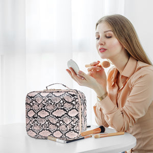 THE LUXOURIA Checkered and Snakeskin Makeup Bag, ELEGANT TRAVEL LINE, Premium Designer PU Leather, Protective Hard Shell - Luxouria