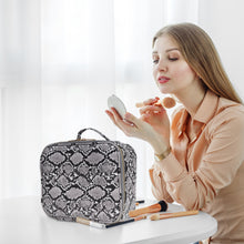 Load image into Gallery viewer, THE LUXOURIA Checkered and Snakeskin Makeup Bag, ELEGANT TRAVEL LINE, Premium Designer PU Leather, Protective Hard Shell - Luxouria