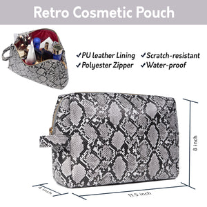 Snakeskin and Checkered Makeup Bag Clutch Cosmetic Bags Retro Cosmetic Pouch Toiletry Travel Organizer for Women, Cosmetics, Make Up Tools - Luxouria
