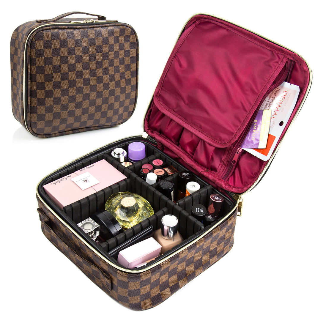 THE LUXOURIA Checkered Makeup Bag, ELEGANT TRAVEL LINE, Premium Designer PU Leather, Protective Hard Shell - Luxouria