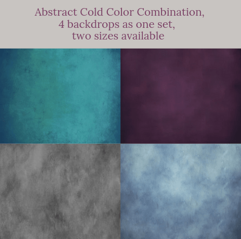 Katebackdrop:Abstract cold color combination backdrops for photography( 4 backdrops in total )