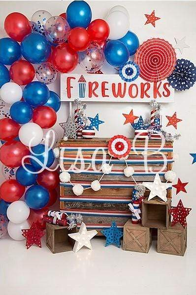 Cargar imagen en el visor de la galería, Katebackdrop£ºKate 4th of July Fireworks Balloon Children Backdrop Designed by Lisa B