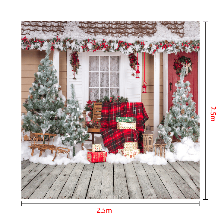 Cargar imagen en el visor de la galería, Katebackdrop£ºKate Snow Outside House With Christmas Trees And Gifts for Photography