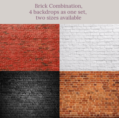Katebackdrop:Brick combination backdrops for photography( 4 backdrops in total )