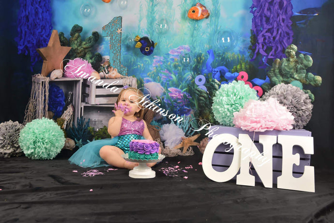 Katebackdrop:Kate mermaid under sea 1st birthday cake smash summer backdrop designed by studio gumot