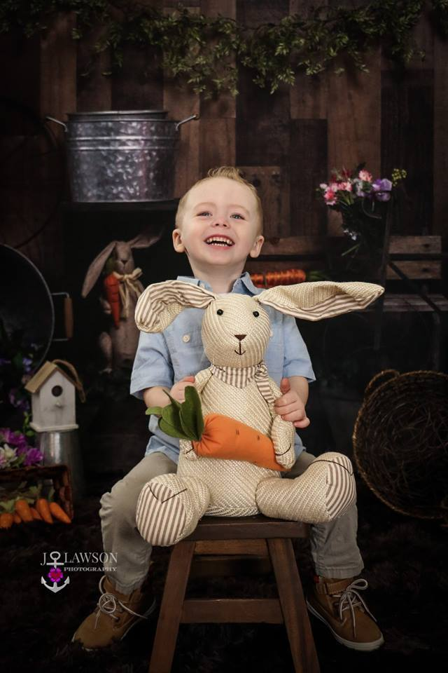 Cargar imagen en el visor de la galería, Katebackdrop£ºKate Wood Background with Rabbits Decorations Easter Spring Children Backdrop for Photography Designed by Erin Larkins