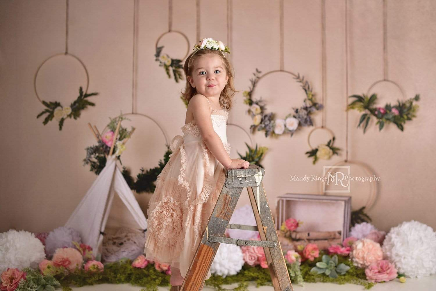 Cargar imagen en el visor de la galería, Katebackdrop:Kate Spring Flowers Camping Children Backdrop for Photography Designed by Mandy Ringe Photography