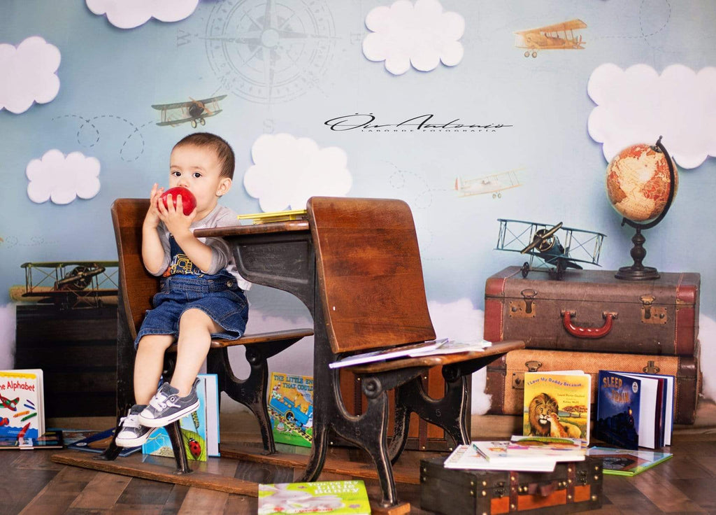 Katebackdrop:Kate Come Fly with Me Cloud Back to School Children Backdrop for Photography Designed by Erin Larkins
